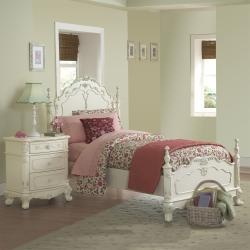 @Overstock.com - This kids' furniture set features Victorian styling with floral motif hardware, ecru painted finish and traditional carving details that create the feeling of a princess. This Fairytale Collection bedroom set includes a full-size bed and nightstand.http://www.overstock.com/Home-Garden/Fairytale-Collection-Full-size-Bed-and-Nightstand/5980842/product.html?CID=214117 $799.99