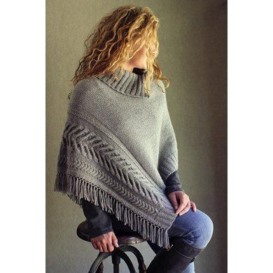 Have fun with this stylish poncho, knit in mainly stockinette stitch with a dramatic cabled border, knit-in fringe and a cozy collar that can button up as a cowl.Potawatomi is knit flat in one piece from ribbed end to ribbed end with a shaped neckline. Thanks to the fringed edging, every row is worked as a right side row, making the stockinette portion purl free! The ribbed cowl is picked up and knitted. A single seam runs up one side from ribbing to neckline.Finished size: After seaming…