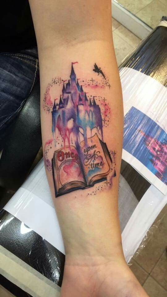 """tattoo #1 disney right sleeve, very bottom. starting at the wrist.. without tinker bell.. and add a """"cloud"""" going up over it circling the other pieces of the tattoo to make it look like a """"dream bubble"""" from the castle"""