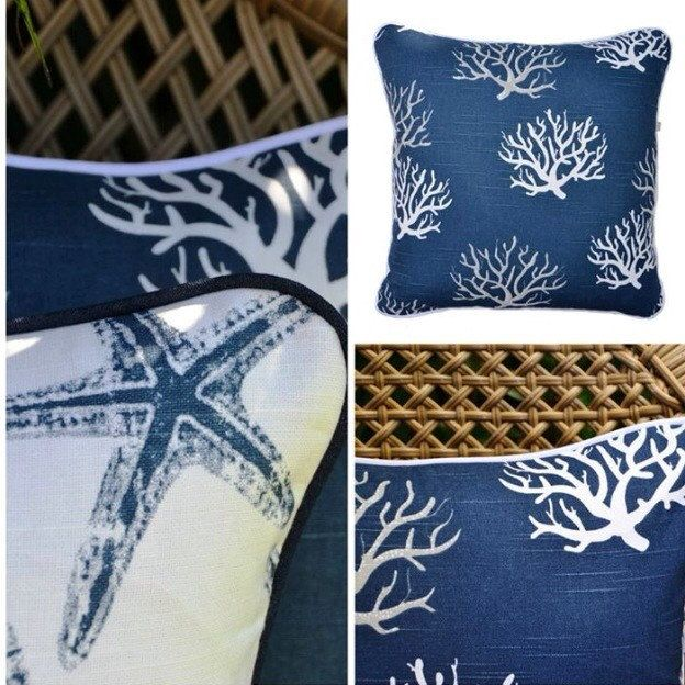 Perfect for Summer Coral & Starfish design cushion covers in fresh blue & white , fully piped & invisible zipper enclosure .  Custom sizing welcome :-)