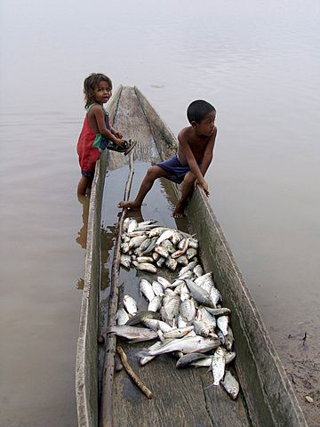 Colombia children sitting in a dug out canoe with fish. Rio magdalena, barrancabermeja