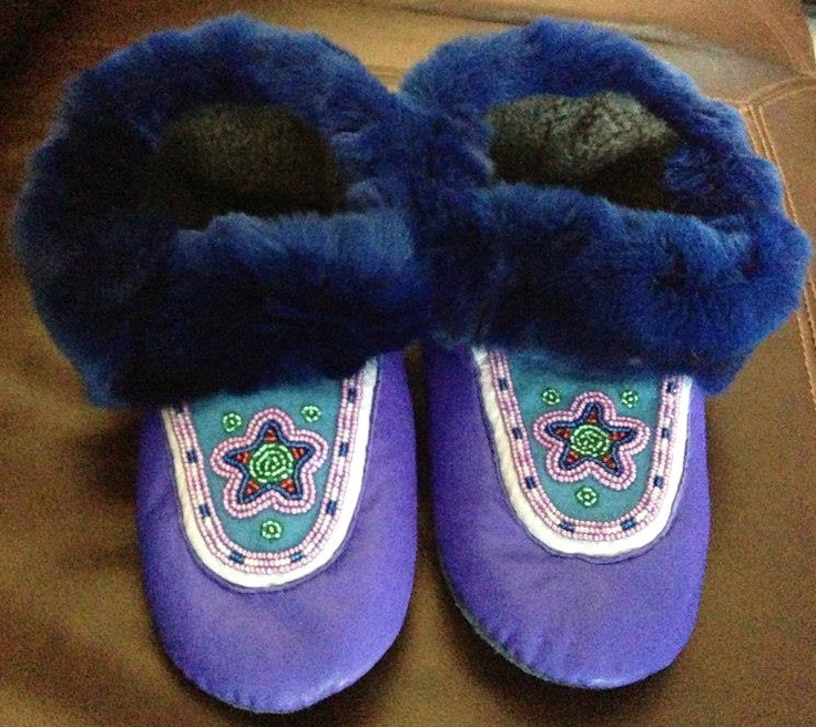 Beaded slippers w/ fur trim by Maggie Peters Barnaby