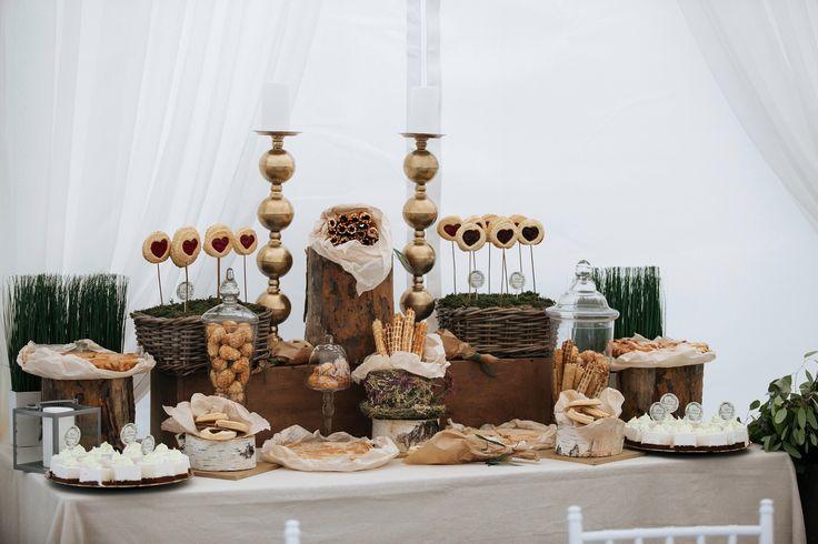 Candy-bar в стиле рустик: оформление сладкого стола. Домашние орешки и трубочки