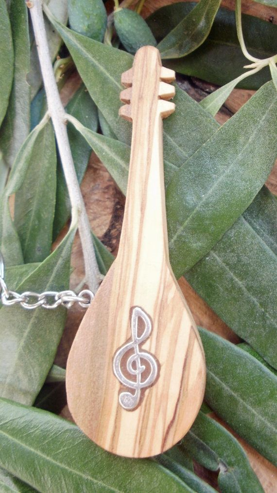 Hand carved Greek Olive Wood musical key chain by ellenisworkshop