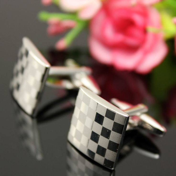 Men Cufflinks Stainless Steel Silver Square Lattice Wedding Party Gift Grid Accessories at Banggood