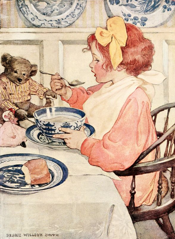 Then the Epicure, with fine and greedy taste for porridge #  http://vintagebookillustrations.com/index.php/jessie-willcox-smith-a-celebration-of-childhood/