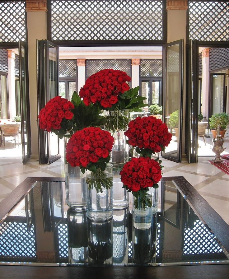 Beautiful red roses in the lobby of Four Seasons Resort Marrakech