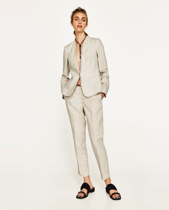 ZARA - MUJER - CHAQUETA LINO Blazers, Linen Suit, Linen Jackets, Zara Women, Spring Summer Fashion, Suit Jacket, Normcore, Fashion Outfits, Pants