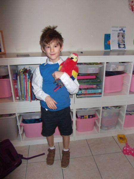 Verkleed je als JOMMEKE: Bruine schoenen, witte sokken, zwarte korte broek, wit hemd en een blauwe sweater waar je de mouwen van verwijdert. Met of zonder papegaai.