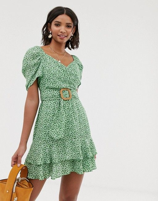 42014a840ee ASOS DESIGN wrap double layer mini dress in ditsy floral print with belt