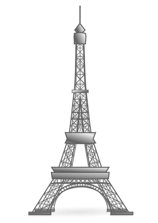 Dibujo para colorear Torre Eiffel - Francia. Ilustración - Imágenes para escuelas y educación: Torre Eiffel - Francia - Img 22458.