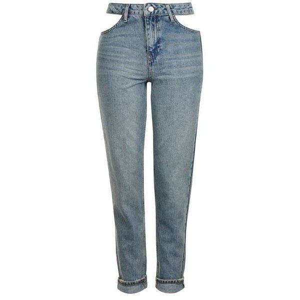 TopShop Moto Cut Out Pocket Mom Jeans ($60) ❤ liked on Polyvore featuring jeans, cutout jeans, high waisted cut out jeans, tapered leg jeans, folded jeans and highwaist jeans