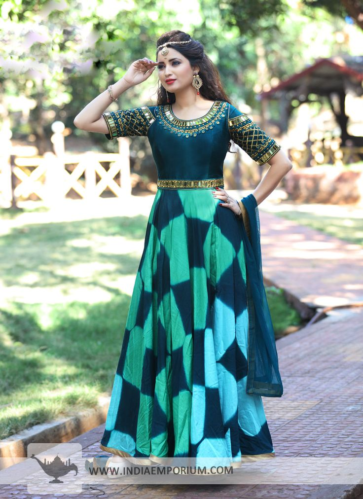 Turquoise & Teal Blue Round Neck Embroidered Anarkali Suit