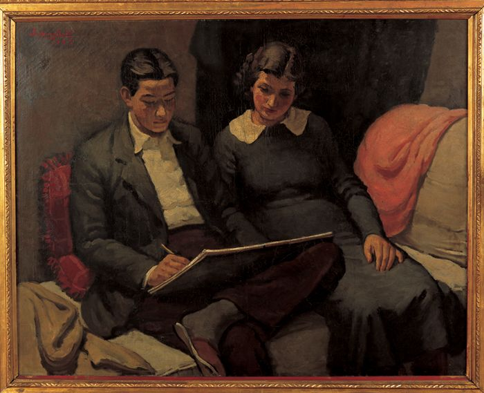 """Atelier"" by Kim In-soong (1937), oil on canvas (National Assembly Library)"