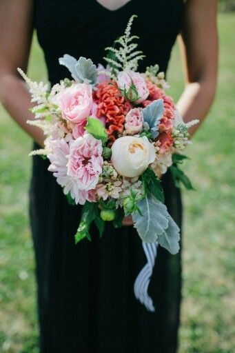 Bridesmaid's Bouquet Featuring Pink Garden Roses, Ivory Roses, Coral Coxcomb, White Gerbera, White Astilbe, Dusty Miller & Emerald Foliage~~~~~~~~~~~~~~~~