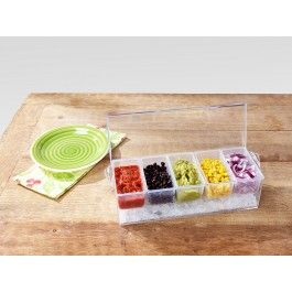 Keep fixins cool and safe to eat with this pro-style server perfect for cookouts, potlucks, and cocktail parties. The stylish clear container holds a layer of ice below 5 individual compartments to keep sauces, garnishes, and other foods chilled for hours.