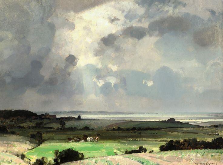 "shear-in-spuh-rey-shuhn:  JOHN ALFRED ARNESBY BROWNSuffolk Landscape Oil on canvas 18"" x 24"""