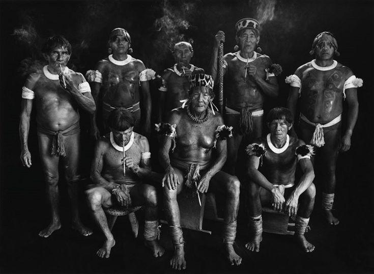 Group portrait of Kamayura shamans. Upper Xingu, Mato Grosso, Brazil by Sebastião Salgado at Sundaram Tagore Gallery | Ocula