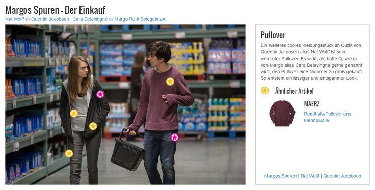 Ein weiteres cooles Kleidungsstück im Outfit von Quentin Jacobsen alias Nat Wolff ist sein weinroter Pullover. Es wirkt, als hätte Q, wie er von Margo alias Cara Delevingne gerne genannt wird, den Pullover eine Nummer zu groß gekauft. So entsteht ein lässiger und entspannter Look.