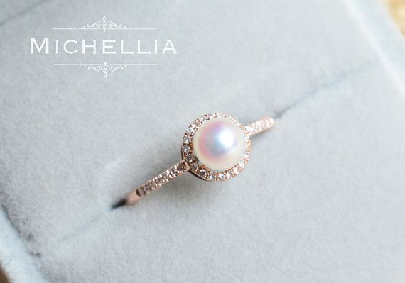 14K/18K Saltwater Pearl Engagement Ring with by MichelliaDesigns