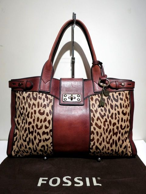 bfe38232699 Leather Tote Bag: Fossil Brown Leather Leopard Print Tote Bag