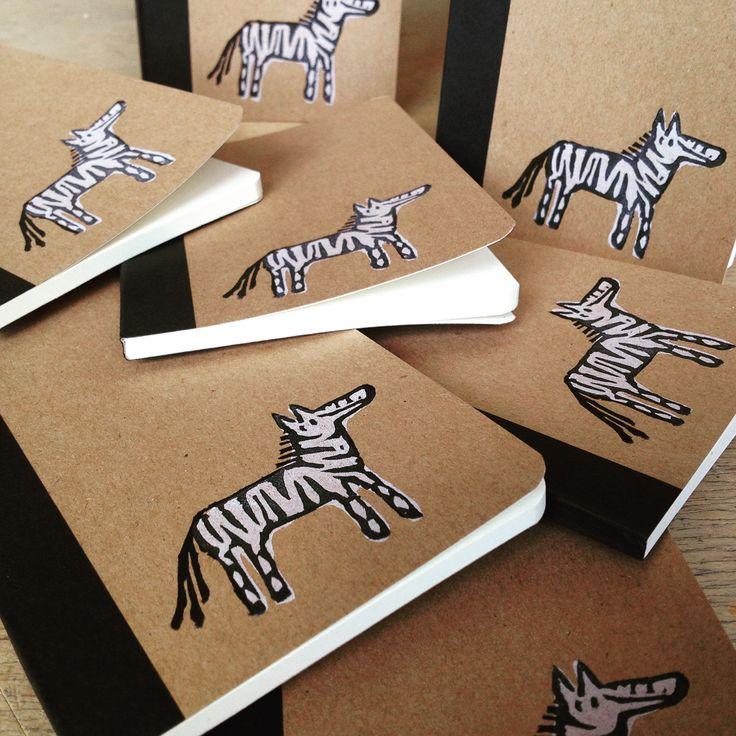 Printed this little zebra on small notebooks #linoprint#linocut#stamp#zebra#stationary#notebook#handmade#illustration#silviebuenen#forsale#linkinbio