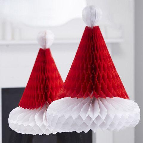 Nissehuer honeycombs af papir. Brug dem til dekoration i hjemmet eller som festlig pynt til julens mange fester.