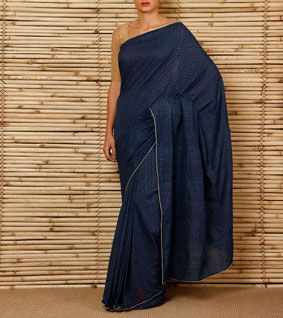 Indigo Natural Dyed Ikat Cotton Saree
