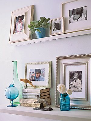 I love the blue and green glass: Picture Ledge, Ledge Displays, Shelving Pictures, Bookshelves Deco, Ledge Shelves, Deeper Ledge, Art Display, Photo Ledge