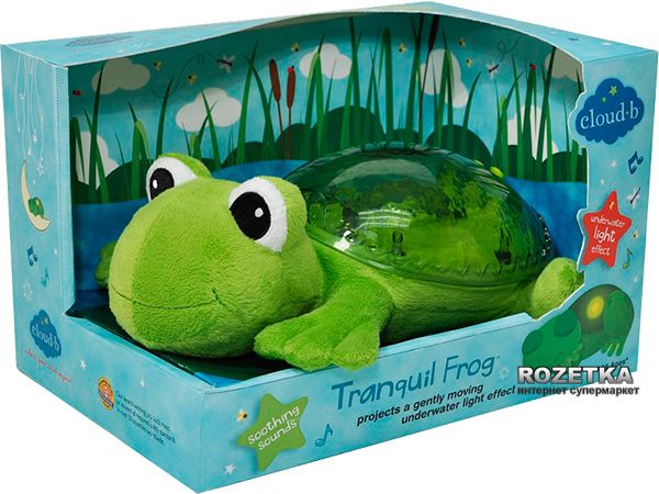Tranquil Frog from Cloud B projects a magical underwater light effect. Features adjustable brightness and volume controls; plays 2 soothing sounds: Ocean Waves and Seaside Serenade; operates on a 23-minute timer and will automatically shut off. Requires 3 AA batteries (not included). Features long-lasting LED lights that stay cool and extend battery life. A wonderful gift for a new baby.
