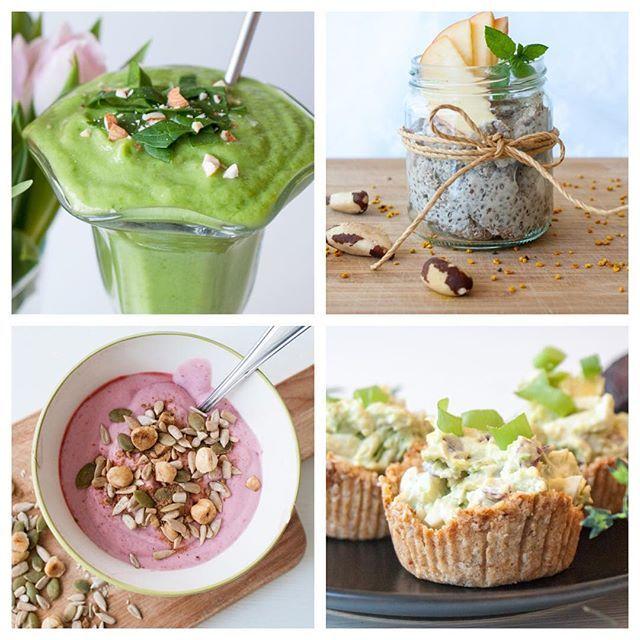 På bloggen hittar ni nu 6 st förslag på goda och nyttiga frukostar. Här är fyra av dem: smoothie med avokado och babyspenat, chiapudding, kokosyoghurt med nöt- och frömüsli samt minipajer med avokado- och äggröra.  Jag lägger länken direkt till inlägget i min profil.  #frukost #nyttigt #chiapudding #smoothie #kokosyoghurt #minipajer #paleo #lchf #naturligmat