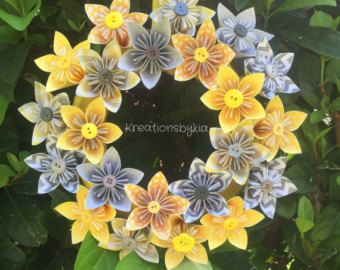 Origami Paper Flower Wreath 12// Wedding/ by kreationsbykia