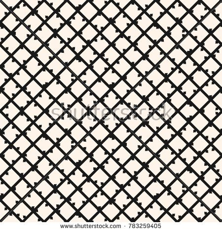 Square grid vector seamless pattern. Abstract geometric monochrome texture with thin diagonal cross lines, rhombuses, mesh, lattice, grill, wire. Simple checkered background. Modern repeat design