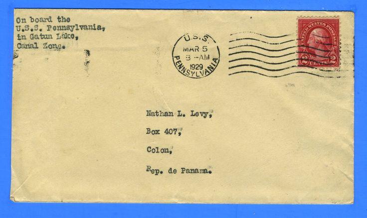 USS Pennsylvania BB-38 Sailor's Mail Gatun Lake, Canal Zone March 5, 1929