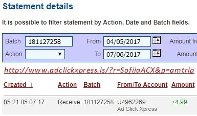 Here is my #9 Withdrawal Proof from Ad Click Xpress.  I get paid daily and I can withdraw daily. Online income is possible with ACX, who is definitely paying - no scam here. I WORK FROM HOME less than 10 minutes and I manage to cover my LOW SALARY INCOME. If you are a PASSIVE INCOME SEEKER, then AdClickXpress (Ad Click Xpress) is the best ONLINE OPPORTUNITY for you. Join for FREE and get 10$ for Tripler value packs from ACX . Make 2% Per Day - Easy!