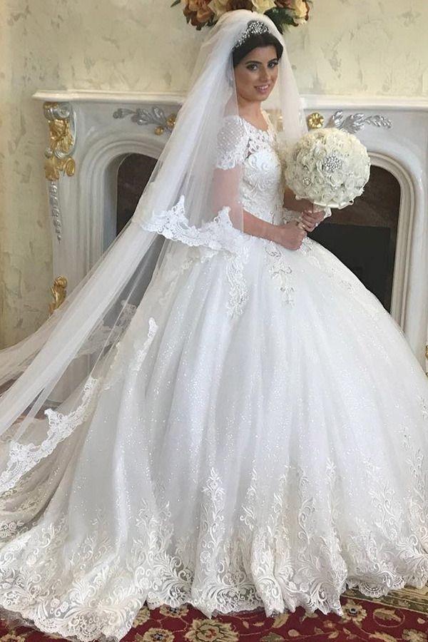 Buy discount Lavish Tulle Jewel Neckline Ball Gown Wedding