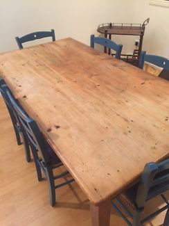 Sturdy Timber Dining Table 6 Chairs