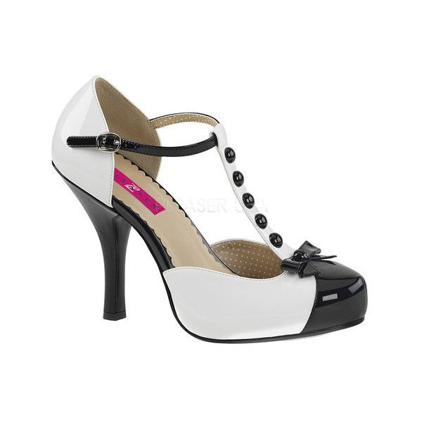 Women's Pleaser Pink Label Pinup 02 T-Strap ($67) ❤ liked on Polyvore featuring shoes, pumps, casual, high heels, pleaser shoes, black and white shoes, patent pumps, strappy pumps and bow pumps