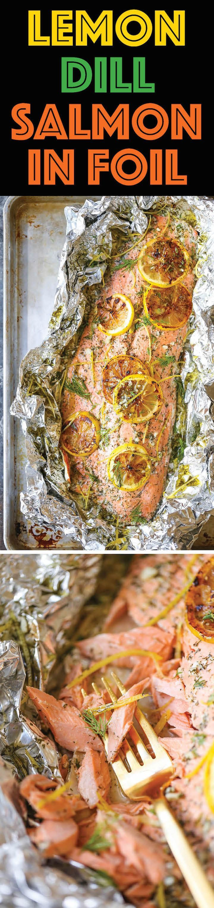 Lemon Dill Salmon in Foil - Seriously dead-simple salmon cooked right in foil! 10 minutes prep. No clean-up! And you know lemon-dill flavors are THE BEST! (Baking Salmon In Foil)
