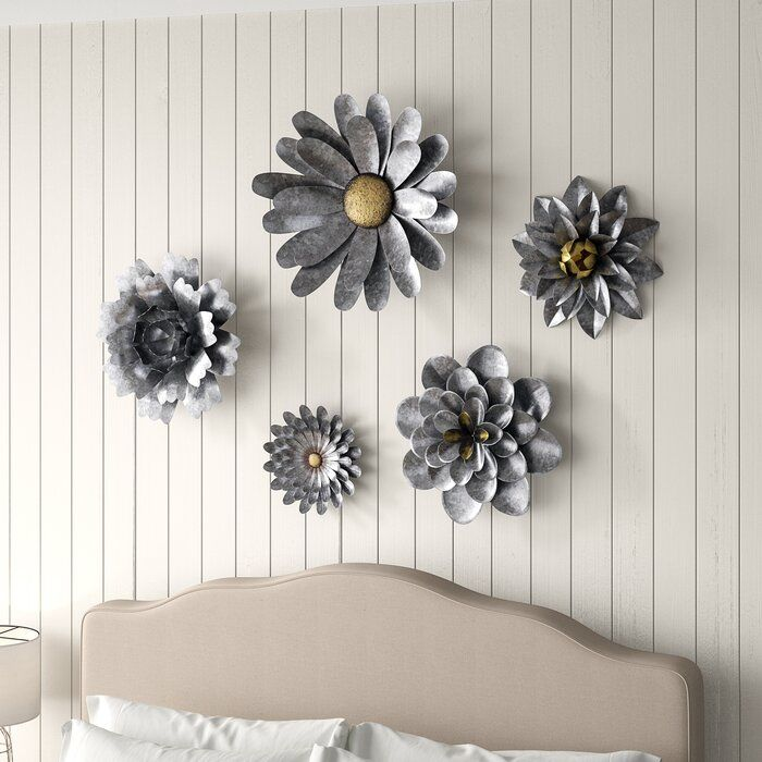 5 Piece Galvanized Metal Flower Hanging Wall D 233 Cor Set