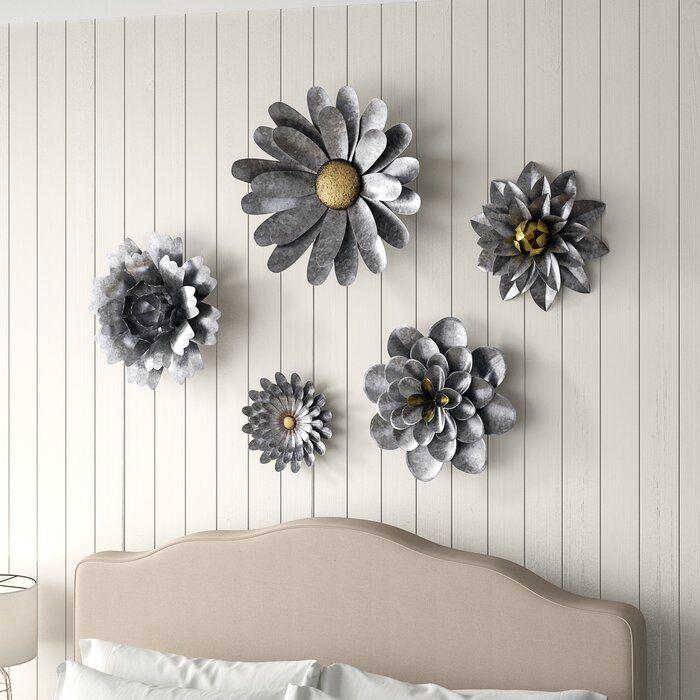 5 piece galvanized metal flower hanging wall décor set on wall art decor id=31832