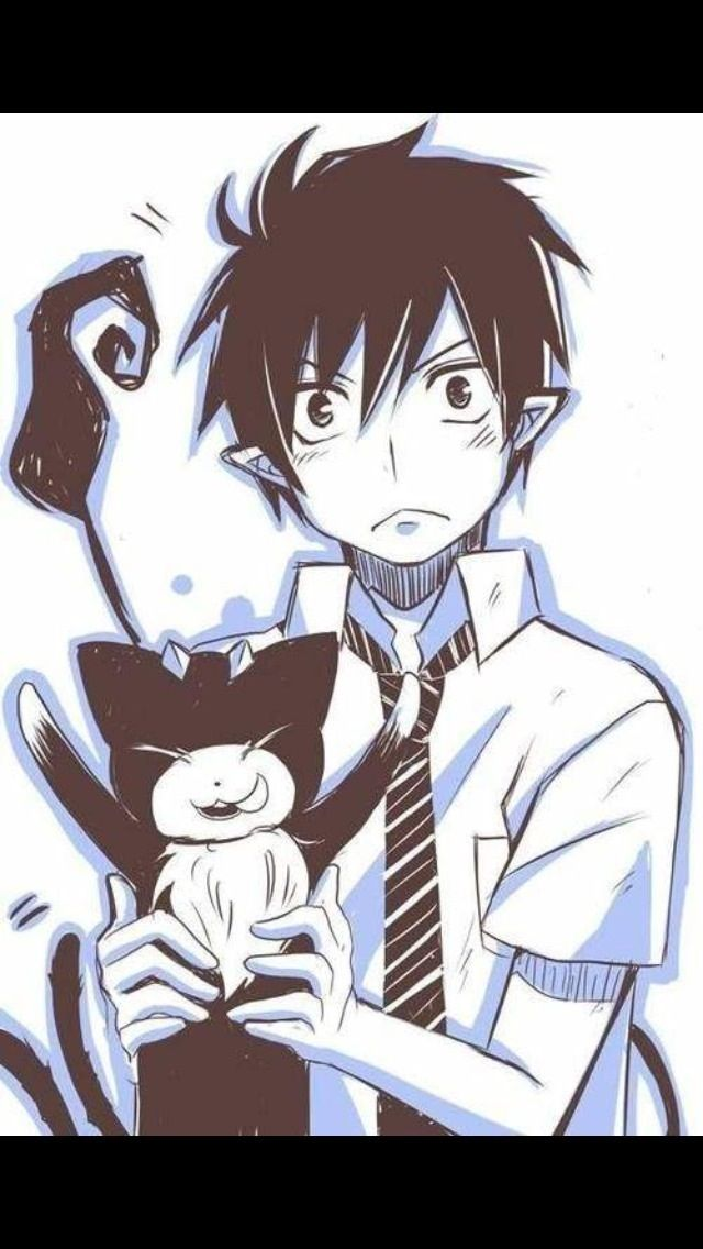 Blue exorcist. Rin and Kuro. Now I'm conflicted cause do I name my cat Beelzenef, Boris, or Kuro.