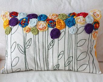 Personalized Bunting Flag Appliqué Pillow by TwoElephantsShop