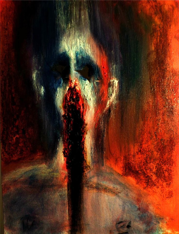 """""""Self-Loathing""""oil and blood on canvas  submitted by  tohu-v-bohu"""
