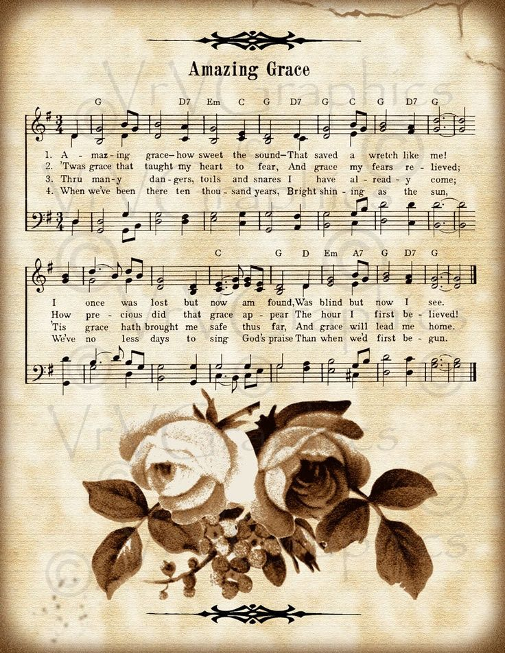 sheet music craft project ideas | Amazing Grace and Roses Christian Sheet Music Hymn Hymnal Digital ...