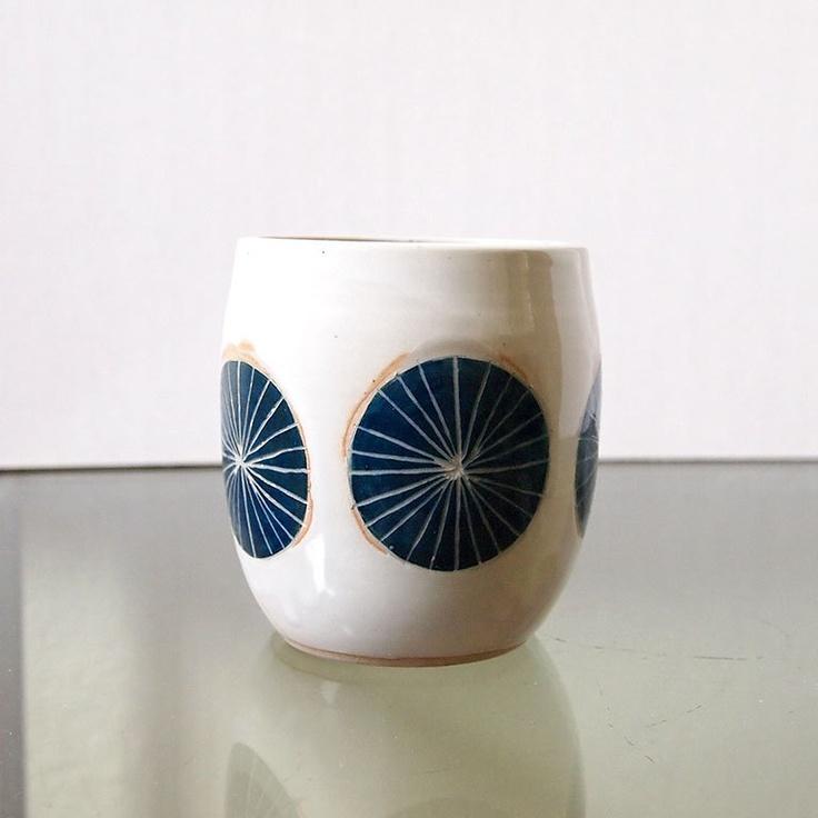 Teal Blue Ceramic Pinwheel Planter/Cup, via Etsy. #jeneceramics #madeinla #jenkuroki