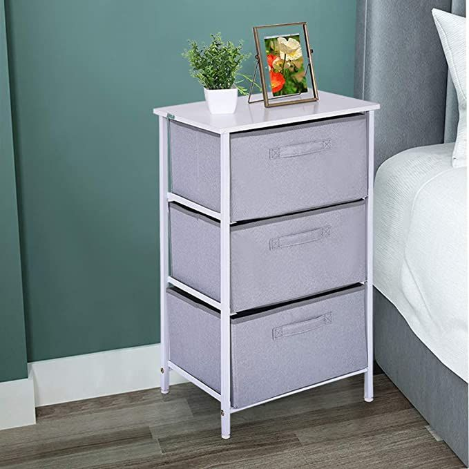 Vertical Dresser Storage Tower Nightstand Chest With 3 Fabric Drawers Bedside Furniture Lightweight Accent In 2020 Dresser Storage Bedside Furniture Storage Towers