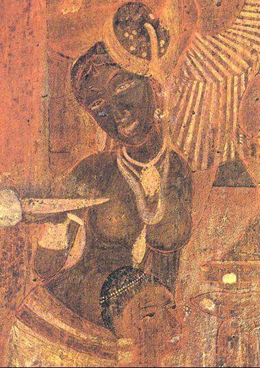 Love the hat!    Ajanta Cave paintings   Village Woman attending Coronation, Vishvantara Jataka, Cave 17