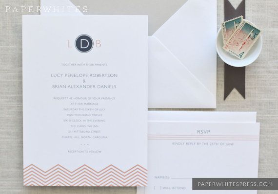 Chevron Wedding Invitations by paperwhitespress on Etsy, $5.00