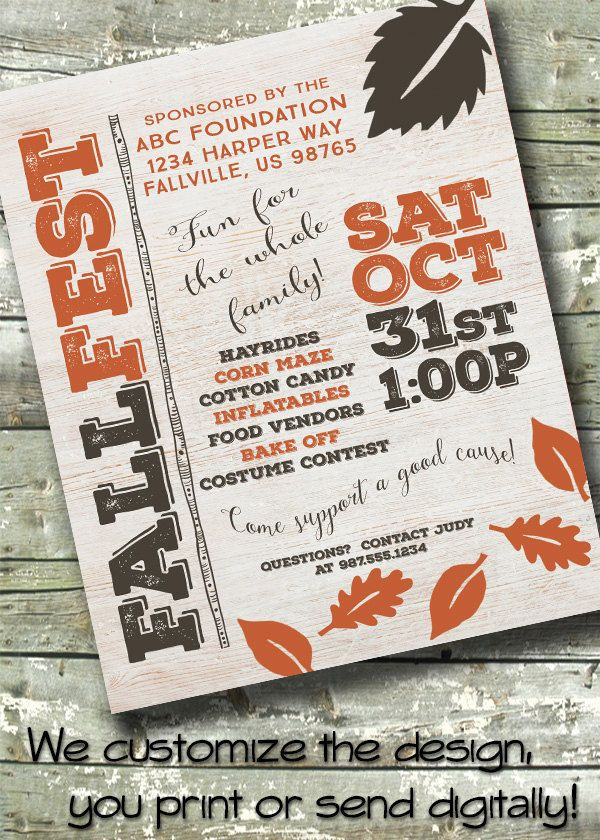 Whitewash Wood ~ Harvest Festival ~ FALL FEST ~ Community Event ~ 5x7 Invite ~ 8.5x11 Flyer ~ 11x14 Poster ~ 300 dpi Digital Invitation by DitDitDigital on Etsy